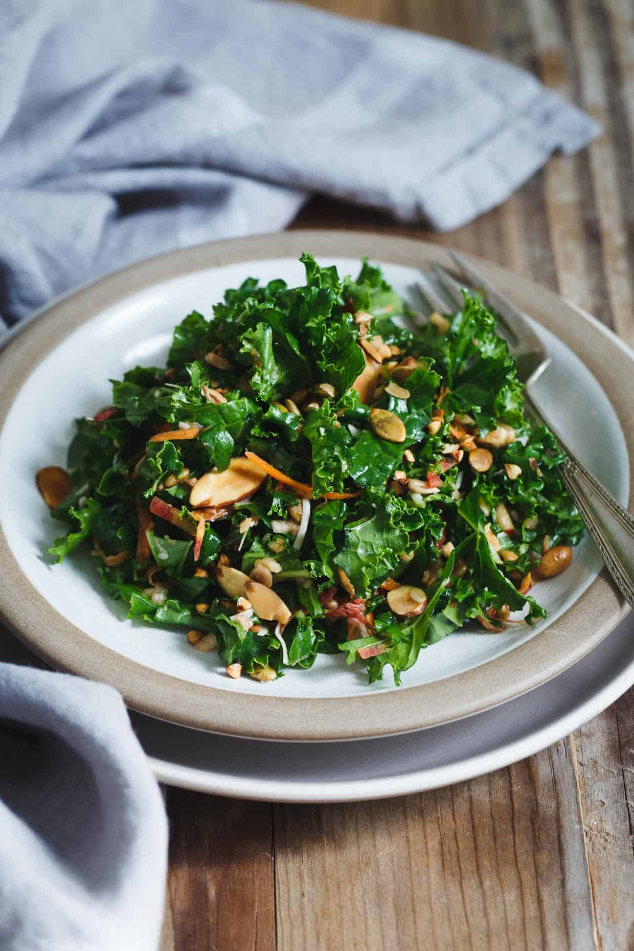 Kale Salad with Toasted Nuts, Seeds, & Buckwheat