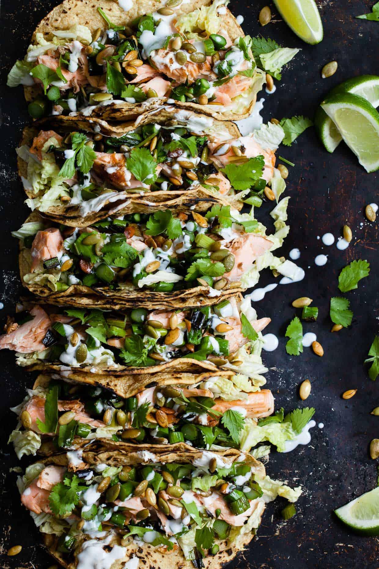 Salmon Tacos with Green Onion & Asparagus Salsa