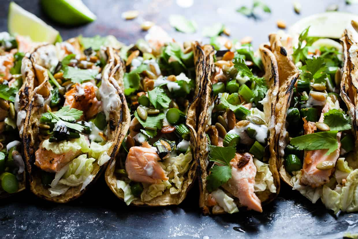 Salmon Tacos with Green Onion & Asparagus Salsa