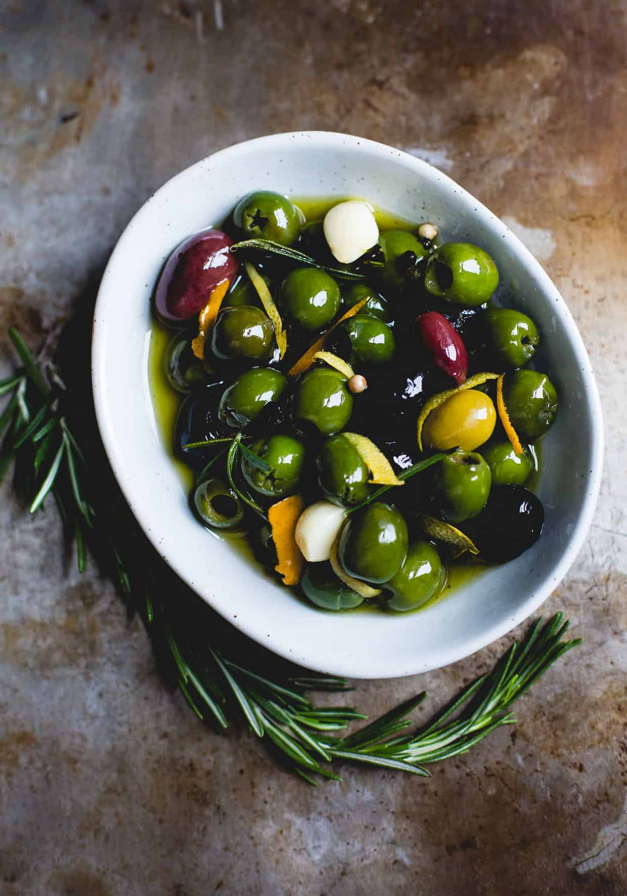 Warm Olives with Citrus, Rosemary, and a Splash of Gin