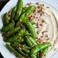 Harissa Snap Peas with Cashew Hummus & Sunflower Seed Za'atar + New Mama Reflections