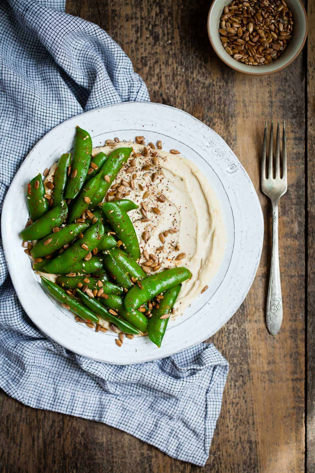 Harissa Snap Peas with Cashew Hummus & Sunflower Seed Za'atar