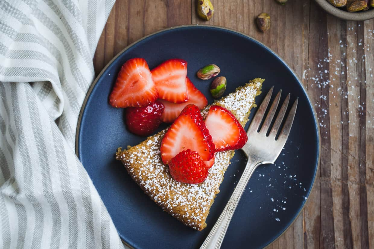 Gluten-Free Pistachio Rose Water Cake with Rose-Scented Strawberries