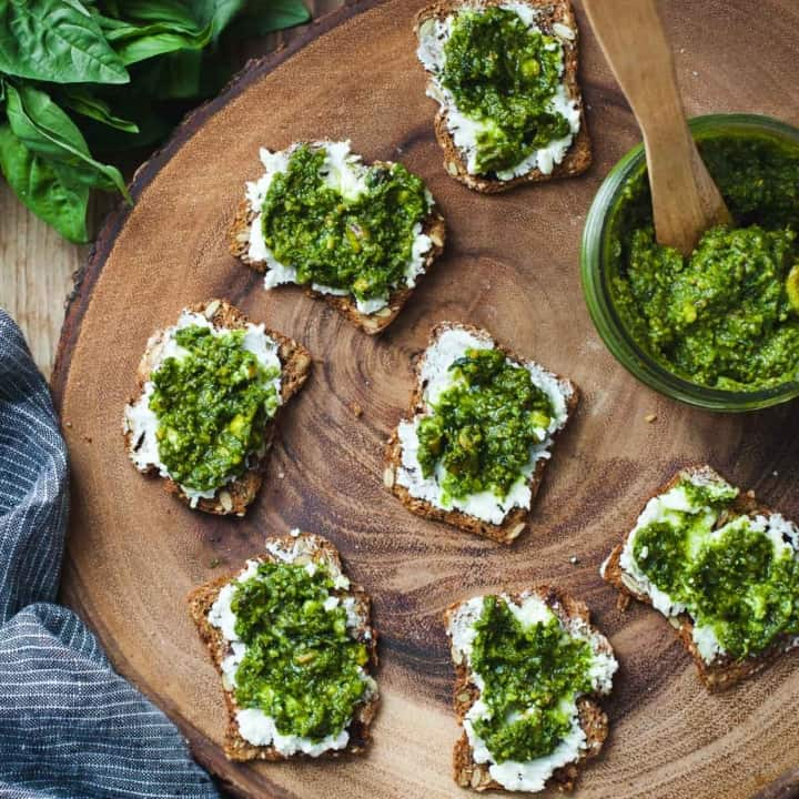 Green Goddess Pesto & Goat Cheese Bites