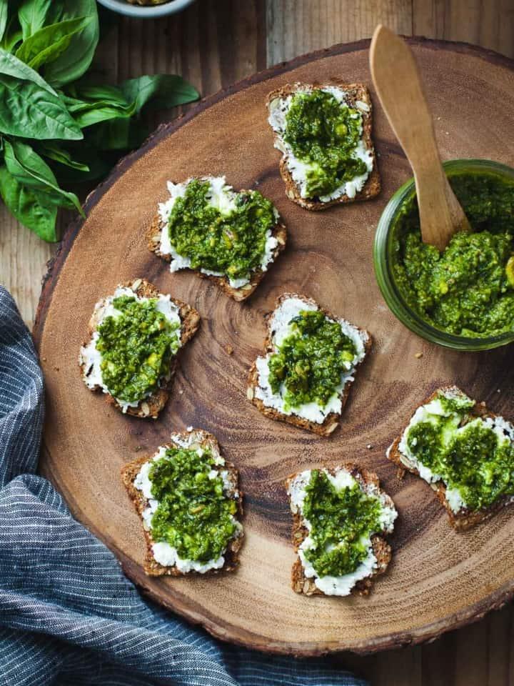 Green Goddess Pesto & Goat Cheese Bites