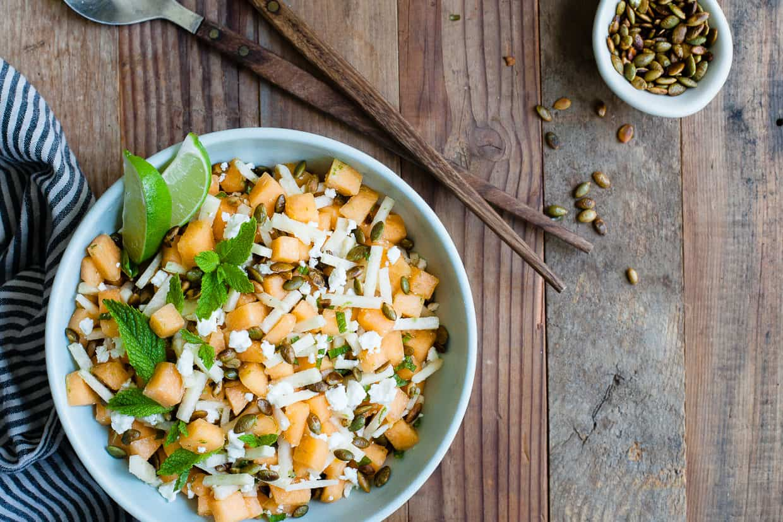 Mint Jicama Cantaloupe Salad with Toasted Pepitas