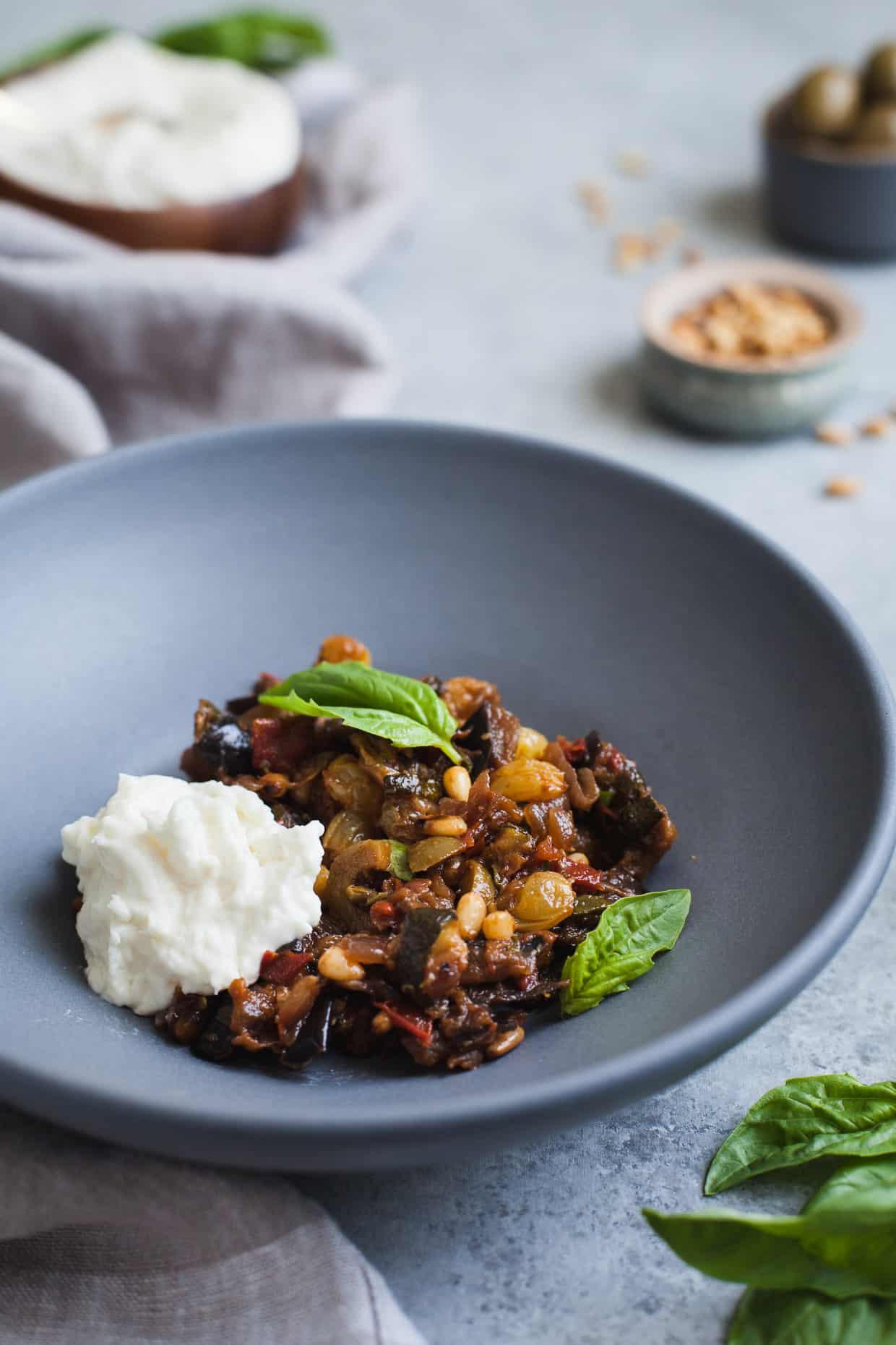 Eggplant and Zucchini Caponata with Burrata