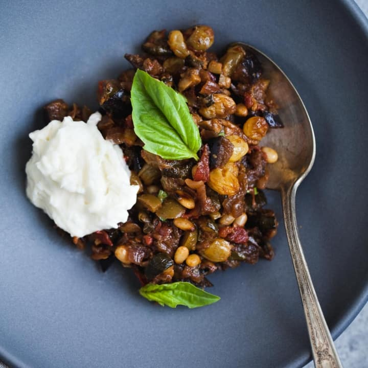 Eggplant and Zucchini Caponata with Burrata