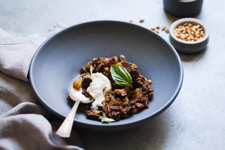 Eggplant and Zucchini Caponata with Burrata - Snixy Kitchen - Snixy ...