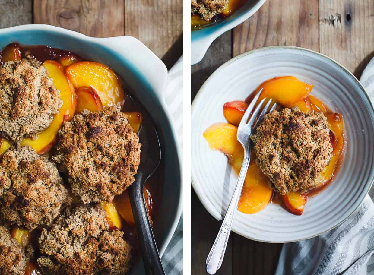 Gluten-Free Peach Cobbler Brown Butter Chestnut Biscuits