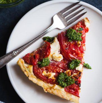 Ricotta Tomato Tart with Gluten-free Cornmeal Crust & Arugula Walnut Pesto