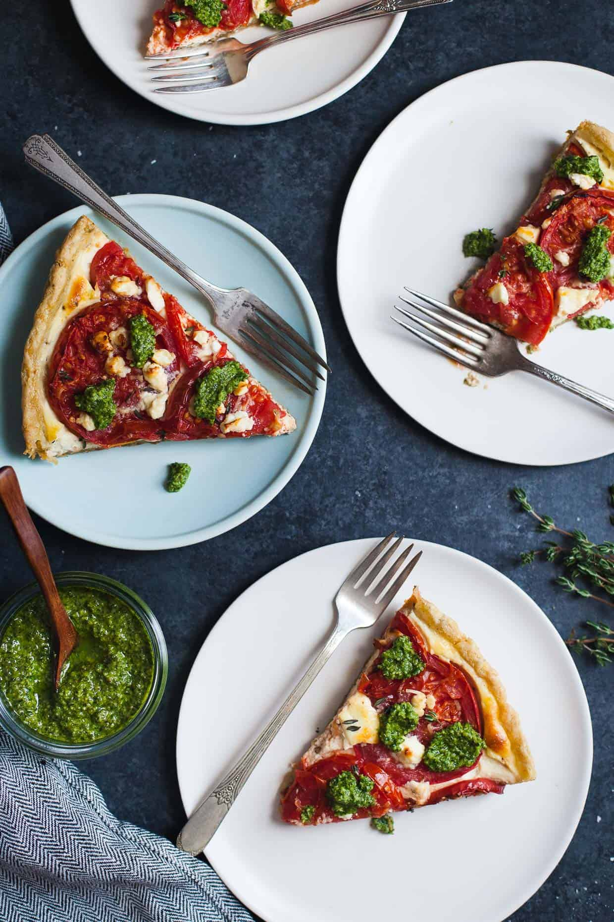 Ricotta Tomato Tart with Gluten-free Cornmeal Crust & Arugula Walnut Pesto