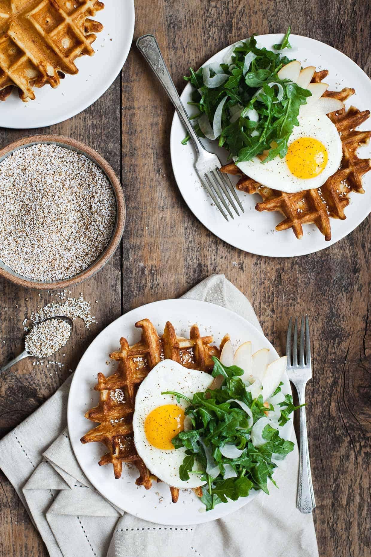 Gluten-free Savory Amaranth Waffles - Snixy Kitchen - Snixy Kitchen