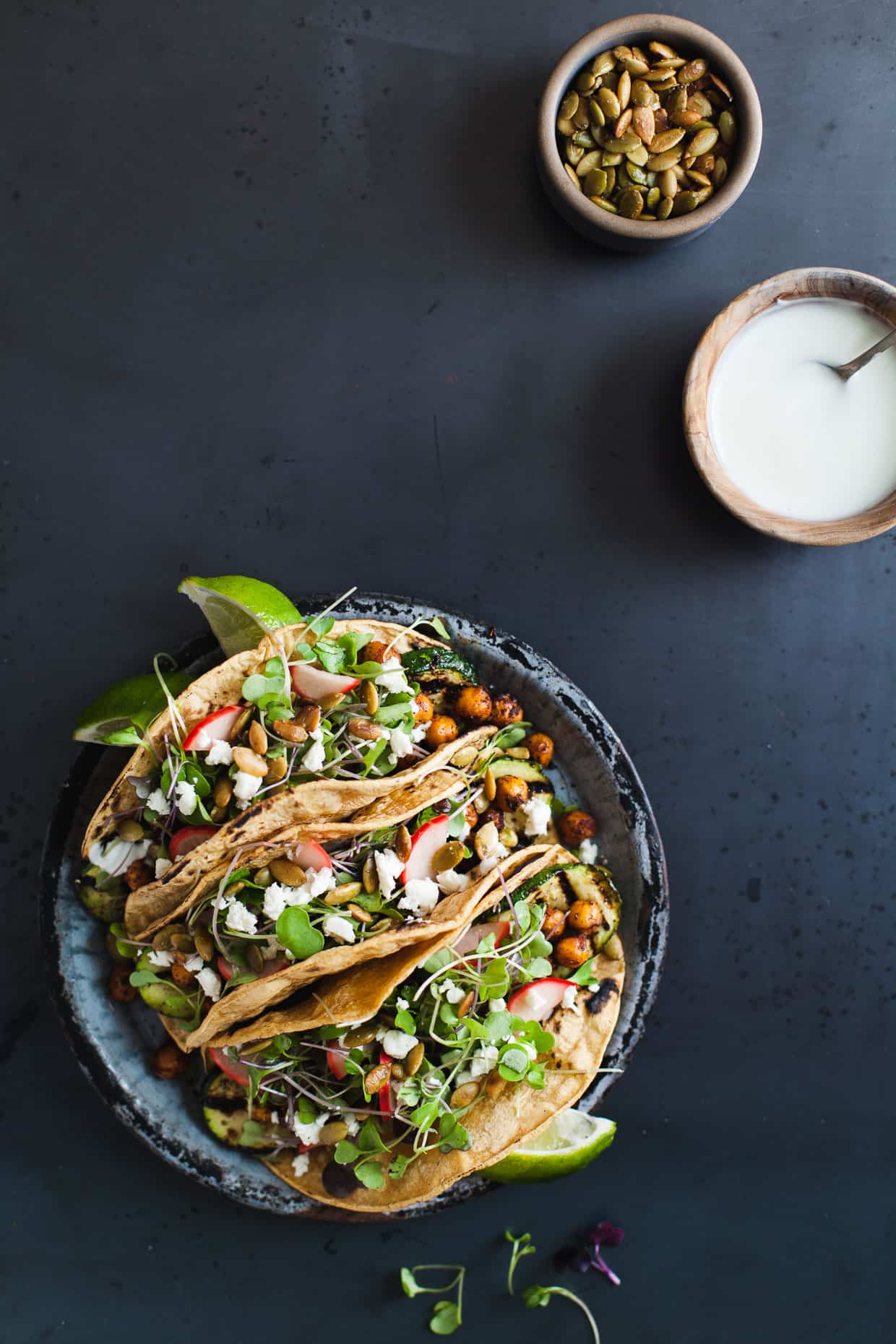 Mole-Spiced Chickpea & Grilled Zucchini Tacos