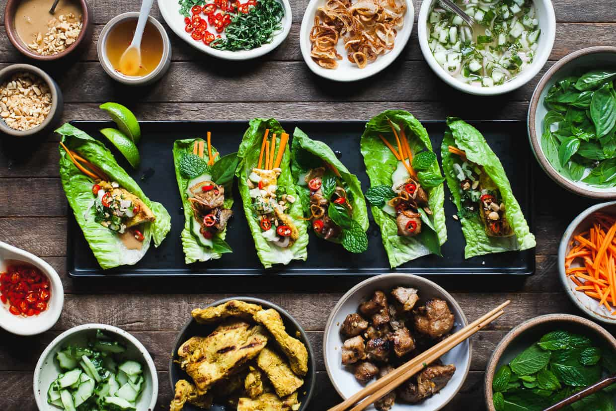 Ginger Lemongrass Pork Lettuce Wraps with Nuoc Cham Sauce