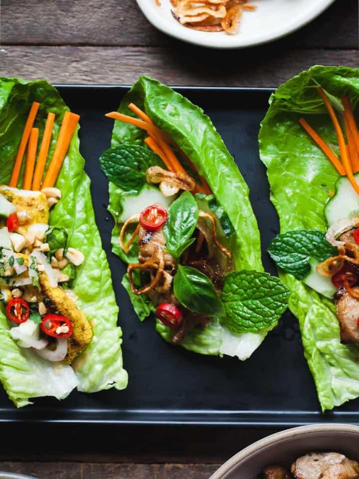 Ginger Lemongrass Pork Lettuce Wraps with Nuoc Cham Sauce