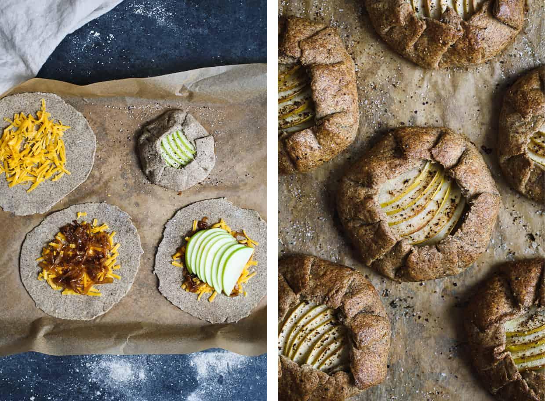 Apple, Cheddar, & Caramelized Onion Galettes with Gluten-Free Buckwheat Crust