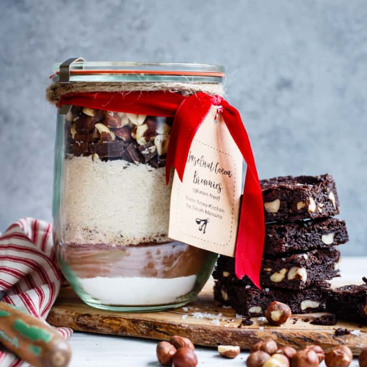 Gluten-Free Hazelnut Dark Chocolate Brownie Mix in a Jar