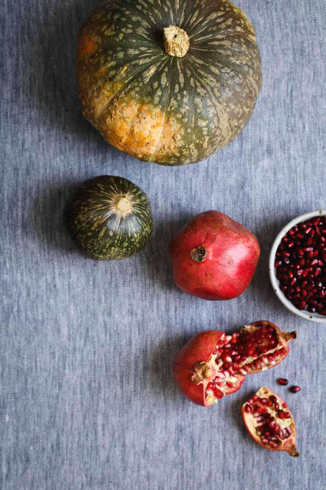 Kabocha squash and pomegranates