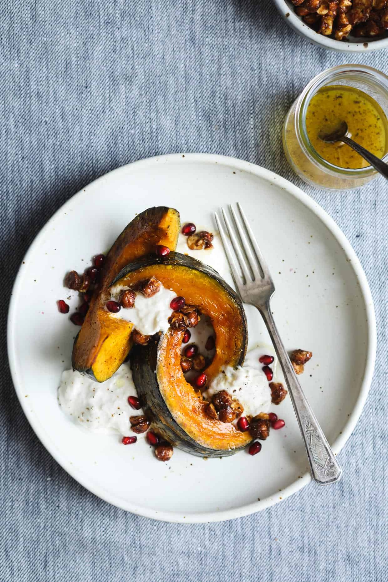 Roasted Squash with Burrata, Spicy Hazelnuts, and Maple Vinaigrette