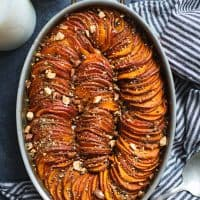 Maple Harissa Sweet Potato Gratin with Almond Dukkah