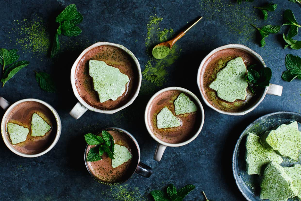 Matcha Marshmallows with Fresh Mint Hot Cocoa