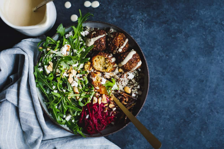 Gluten-Free Butternut Squash Falafel Salad Bowls with Pickled Beets