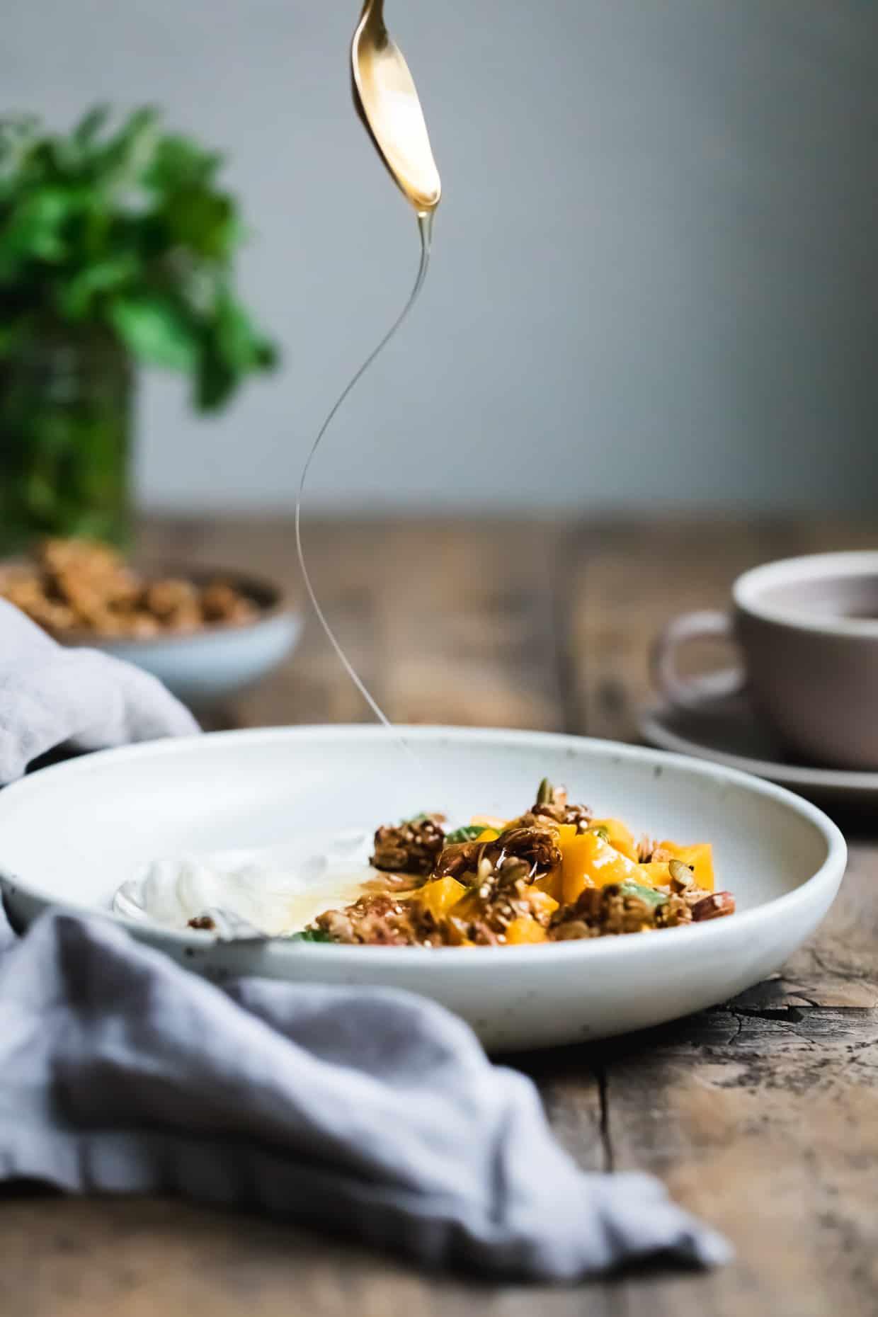 Butternut Squash and Granola Yogurt Breakfast Bowls