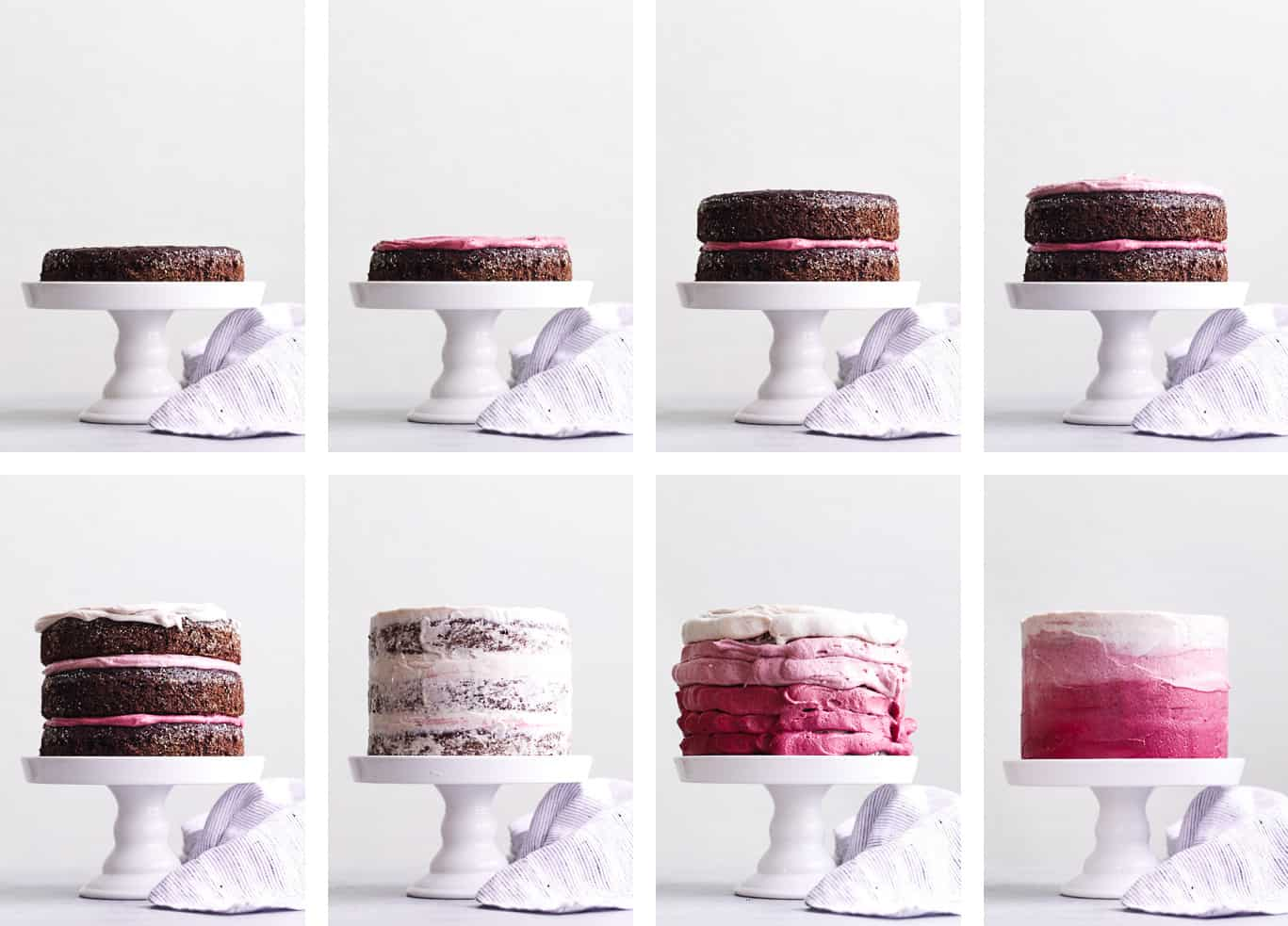 The BEST Gluten-free Chocolate Cake with Ombre Hibiscus Cream Cheese Frosting