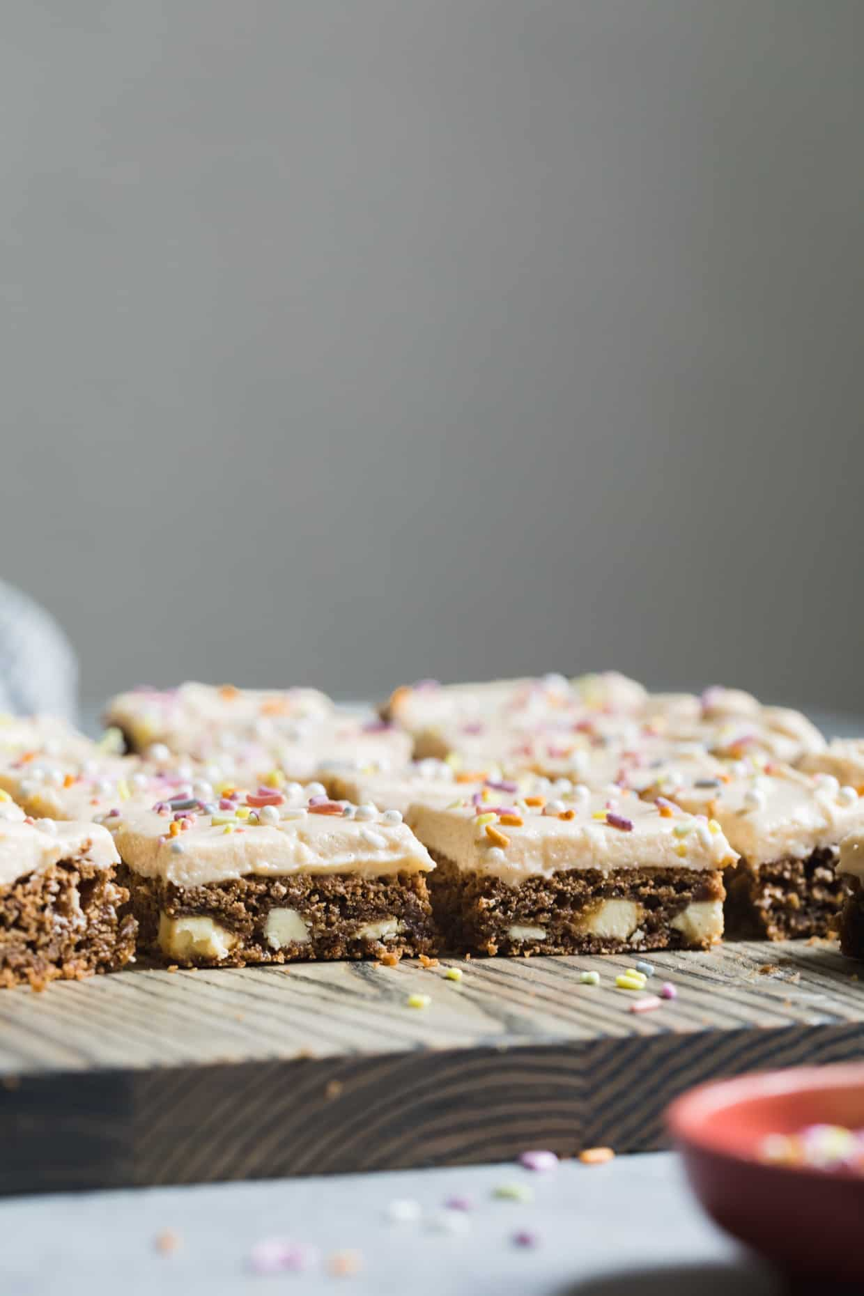 White Chocolate Cardamom Blondies with Grapefruit Frosting (gluten-free)