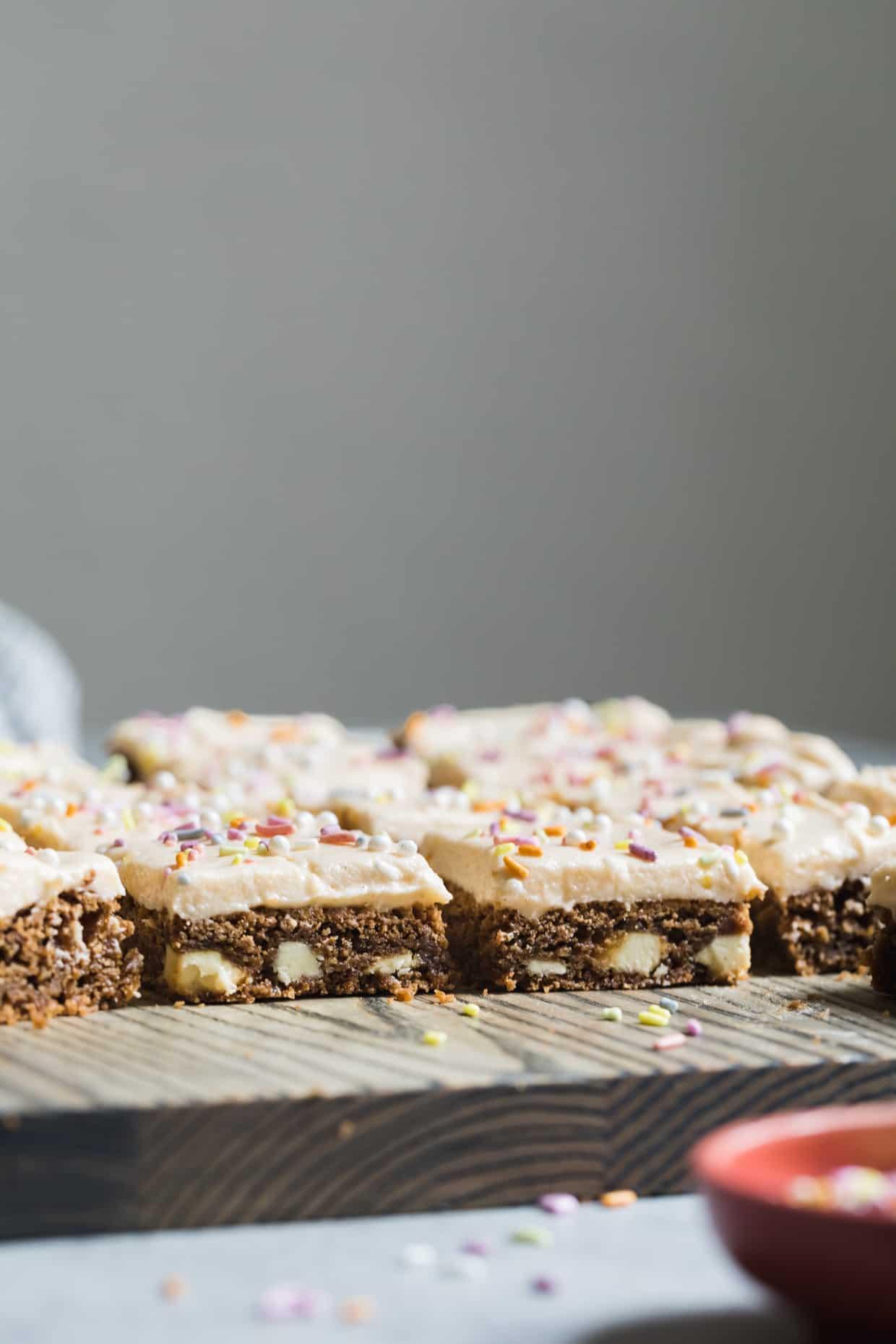 White Chocolate Cardamom Blondies with Grapefruit Frosting (gluten-free)