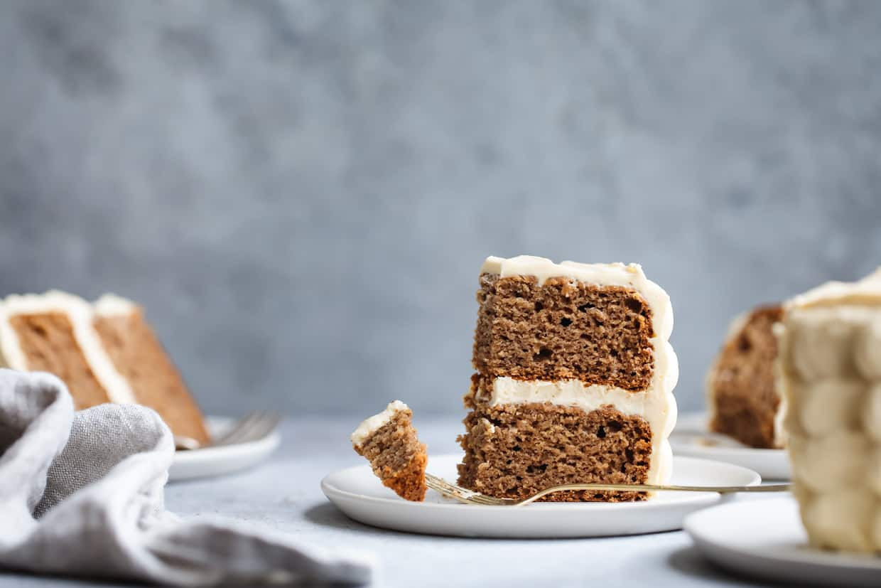 Baby Smash Cake: Banana Date Cake with Maple Cream Cheese Frosting (gluten-free & refined sugar-free)