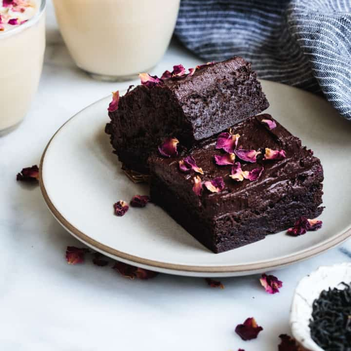 Gluten-free Frosted Earl Grey Brownies with Rose Petals