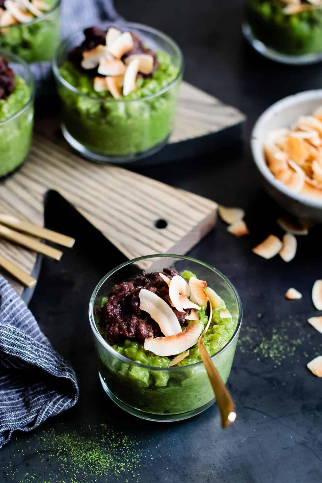 Coconut Matcha Rice Pudding with Date Adzuki Bean Paste {Vegan}