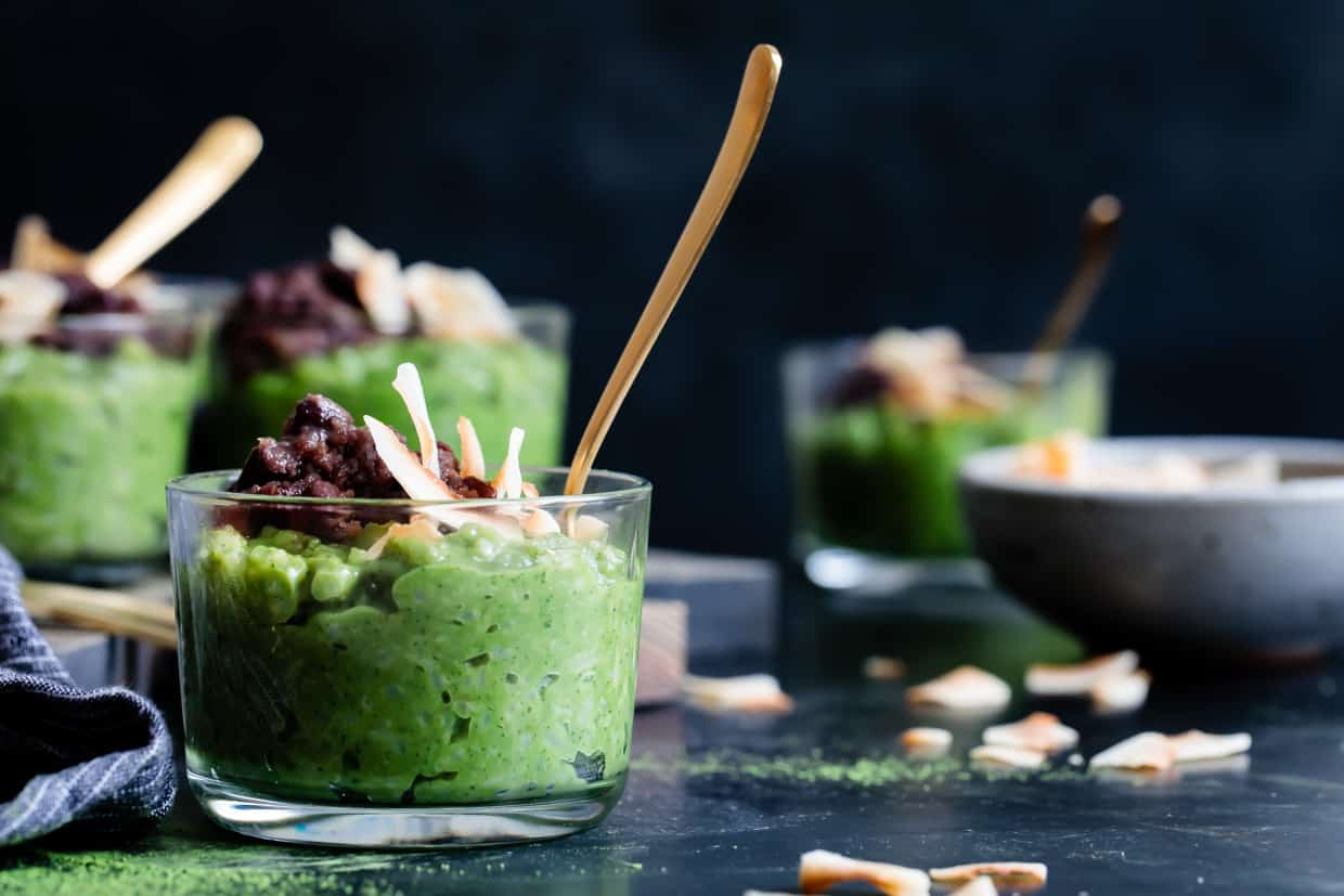 Coconut Matcha Rice Pudding with Date Adzuki Bean Paste {Vegan}