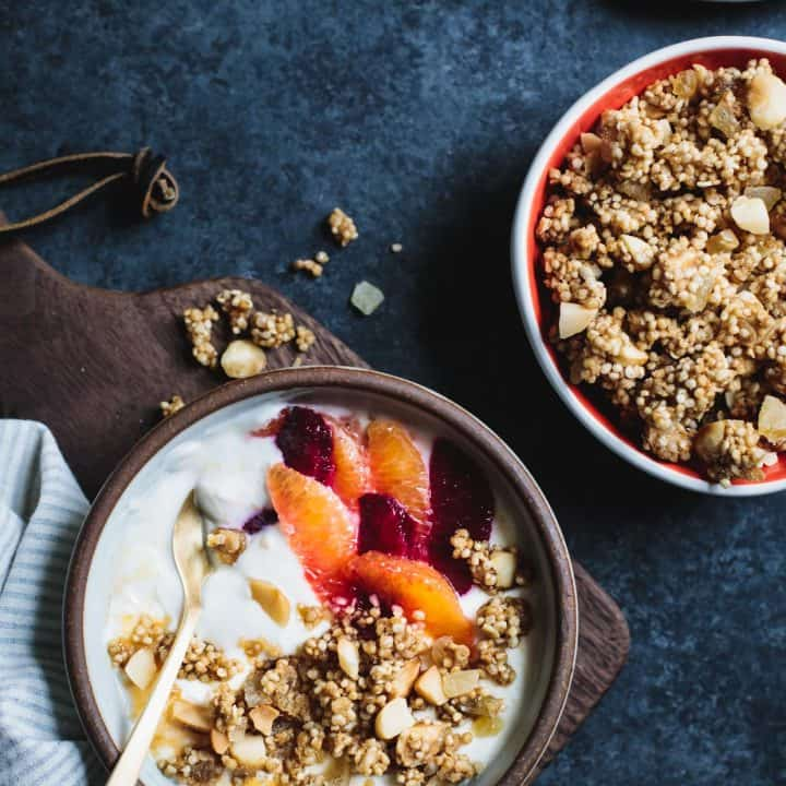 Puffed Quinoa Crumble with Macadamia and Candied Ginger
