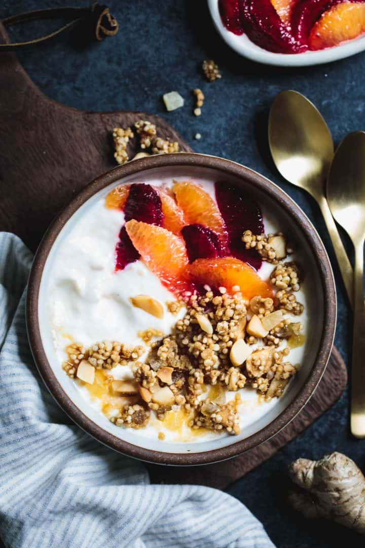 Puffed Quinoa Crumble with Macadamia and Candied Ginger Yogurt Topping