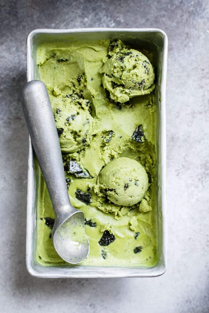 Vegan Coconut Matcha IceCream with Black Sesame Brittle