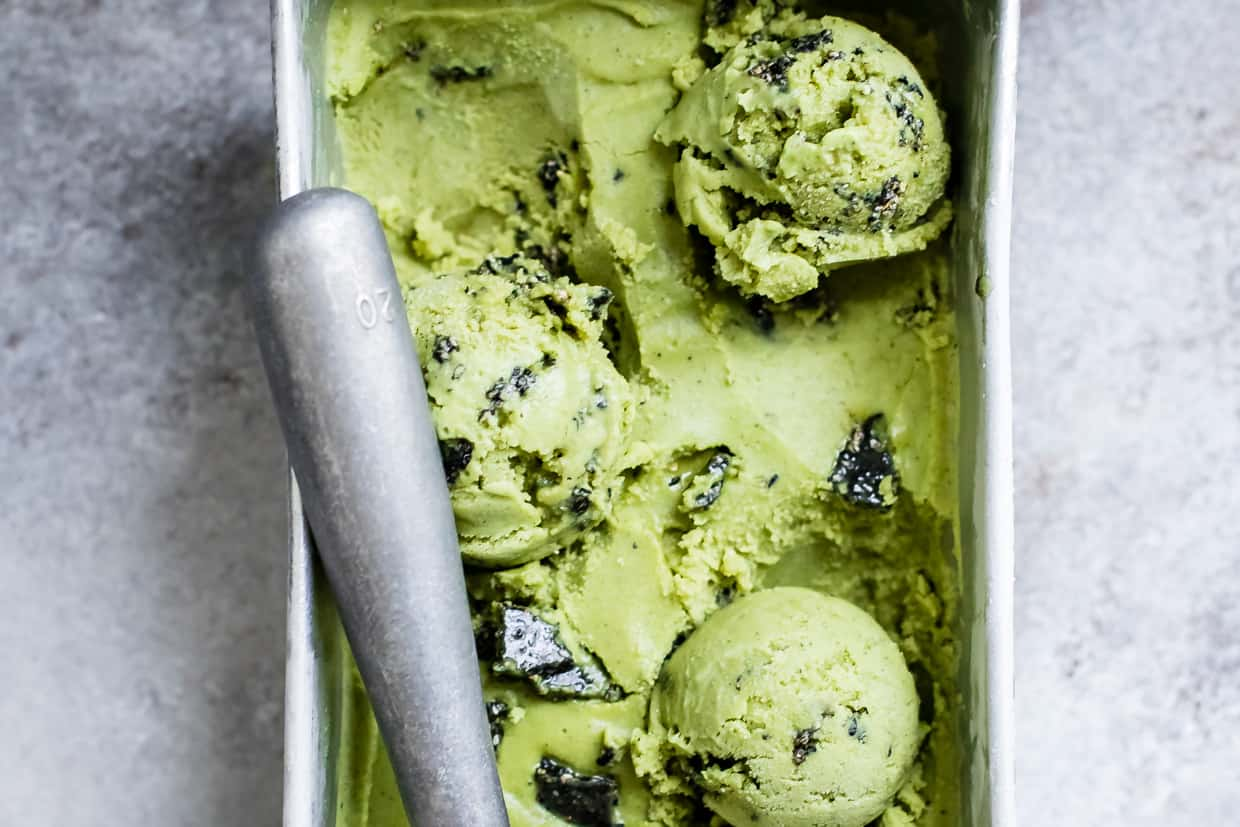 Vegan Coconut Matcha Ice Cream with Black Sesame Brittle