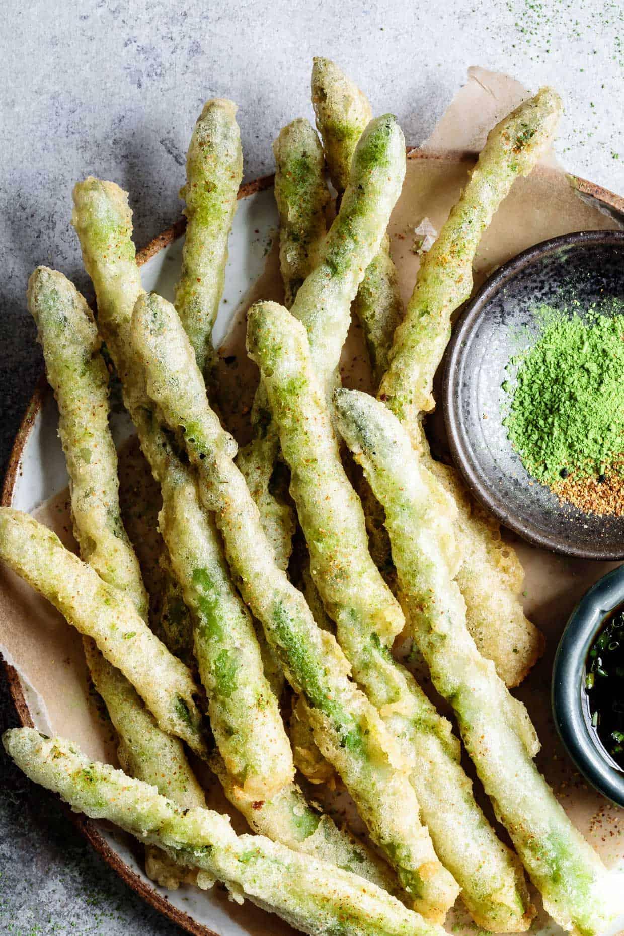 Gluten-Free Tempura Asparagus with Matcha Salt