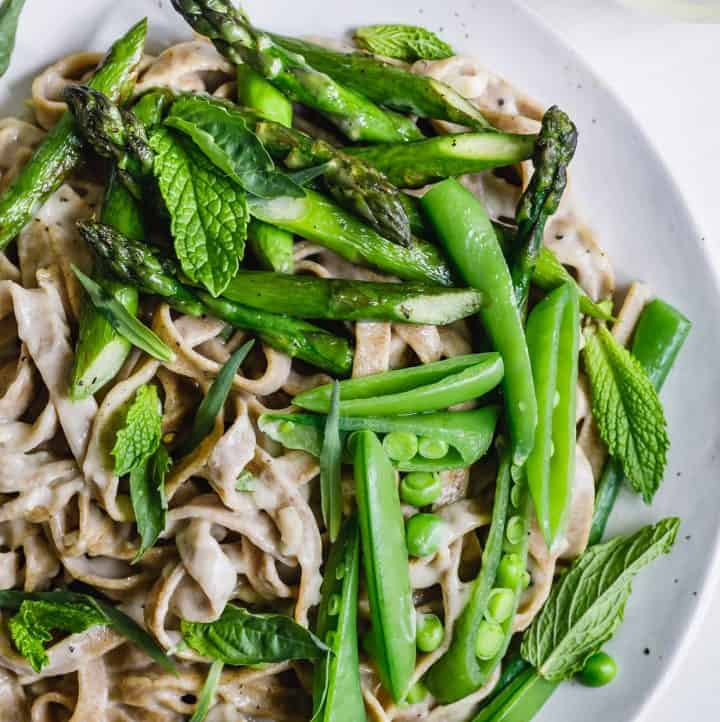 Almond Milk Fettuccine Alfredo with Spring Veggies & Herbs