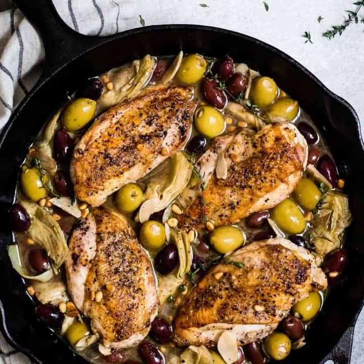 Garlic White Wine Skillet Chicken with Artichoke & Olives