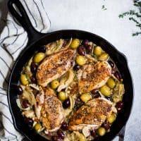 Garlic White Wine Skillet Chicken with Olives & Artichokes