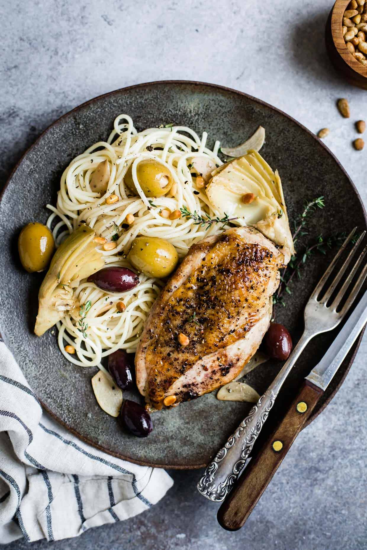 Garlic White Wine Skillet Chicken with Artichoke & Olives