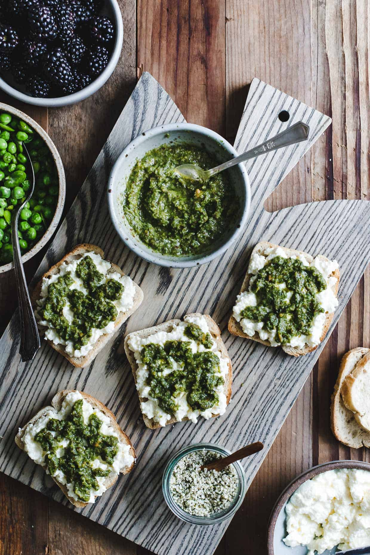 Roasted Lemon Mint Pesto & Ricotta Tartines, Two Ways