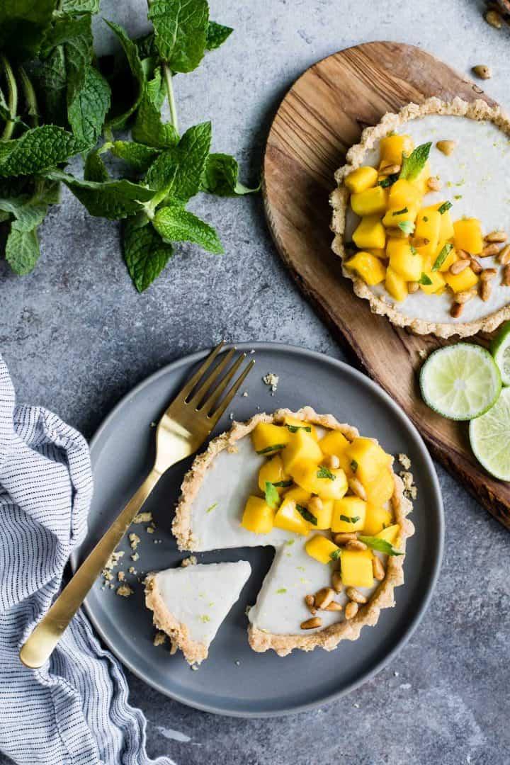 Mint Mango Haupia Tarts with Gluten-Free Pine Nut Crust