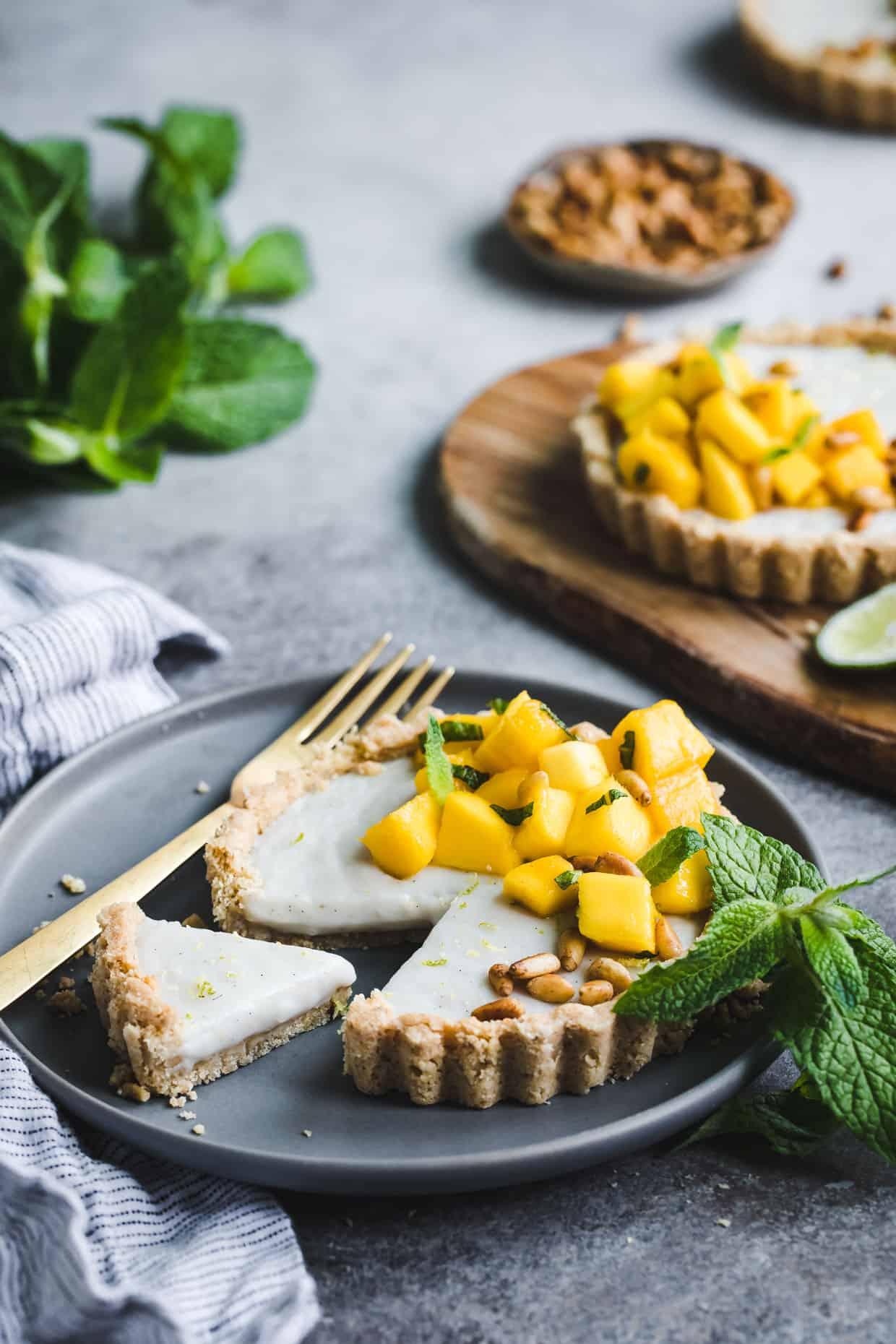 Mint Mango Haupia Tarts with Pine Nut Crust