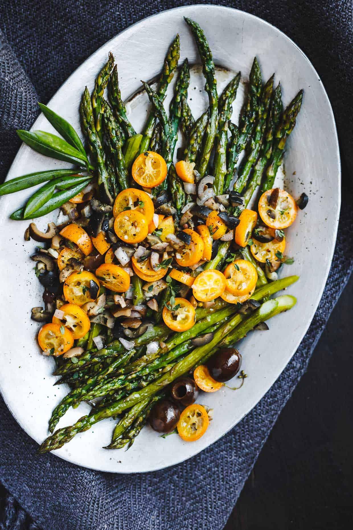 Roasted Asparagus with Kumquat Olive Salsa