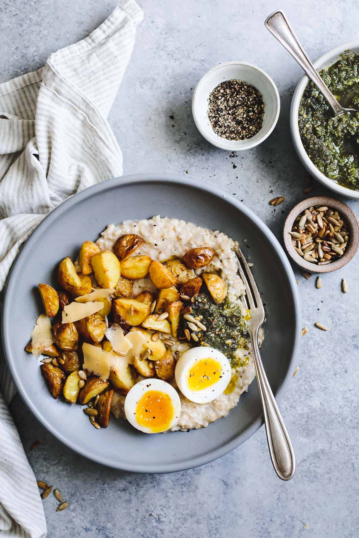 Cheesy Savory Oatmeal with Crispy Potatoes & Pesto