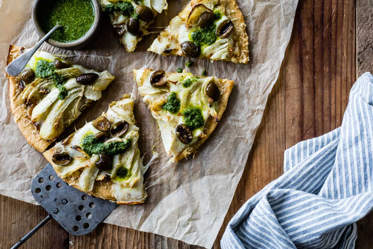 Roasted Fennel & Garlic Socca Flatbread with Olives and Mint Parsley Oil